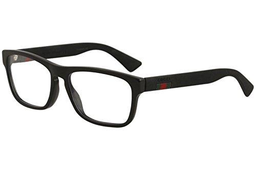 Gucci Unisex – Erwachsene GG0174O-005-56 Brillengestell, Glänzend Schwarz - Matt Schwarz, 56