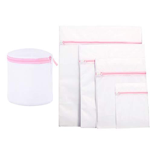 N\A 5 x Netz-Wäschesäcke, wiederverwendbar, langlebig, Waschmaschinen-Tasche für Feinwäsche, Bluse, Strumpfwaren, Unterwäsche, BH, Babykleidung