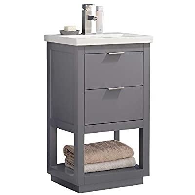 "LUCA Kitchen & Bath LC20GGP Sydney 20"" Bathroom Vanity Set in French Gray with Integrated Porcelain Top"