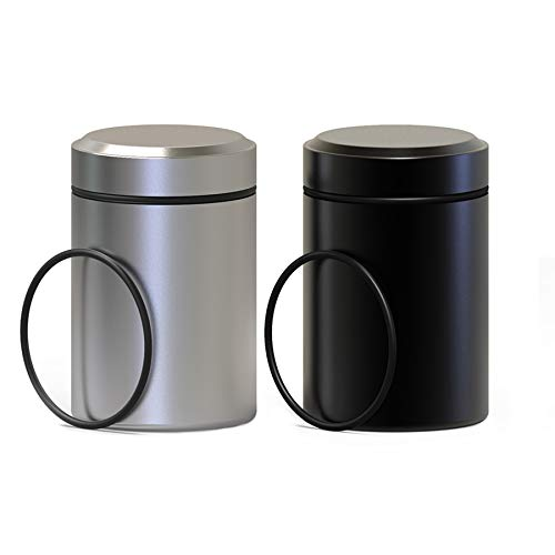 2 Pack Portable Stash Jar(65ml)-Airtight Smell Proof Durable Multi-Use Aluminum Herb Container.Waterproof Screw-top Lid…