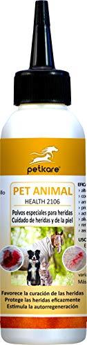 Peticare Bio Polvo para Cuidado de Heridas en Caballos, Perros, Gatos - Detiene Picor de Piel, Promueve Curación, Tratamiento contra Mordedura, Rozaduras, 100% Orgánico - petAnimal Health 2106