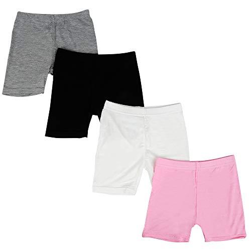 Kidear Serie para niños Modalidades para niñas pequeñas Pantalones Cortos de Chicas (Paquete de 4)