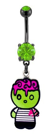 Cute lillte Zombie Halloween dangle horror lovers Belly navel Ring piercing bar body jewelry 14g