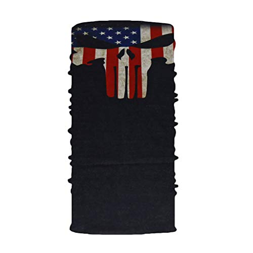 GEORGES Multifunktionstuch Halstuch in vielen verschiedenen Designs vielseitig einsetzbar | Sturmhaube | Schlauchschal | Stirnband | Piratentuch (USA Punisher)
