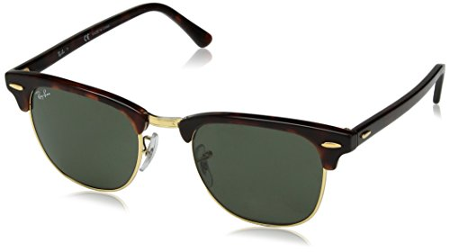 RAY-BAN Unisex-Adult Clubmaster RB3016 Square Sunglasses, Tortoise, 49 mm