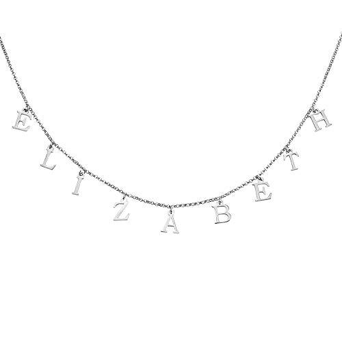 Damofy Personalisierte Name Choker Kette mit Initial baumeln Brief Anhänger Silber Babygirl Kette für Frauen