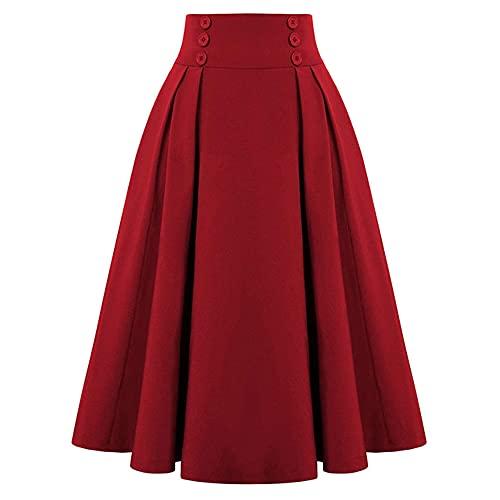 Gonna a vita alta da donna stile vintage elastico linea Ladies gonna a pieghe con, Rosso, XL
