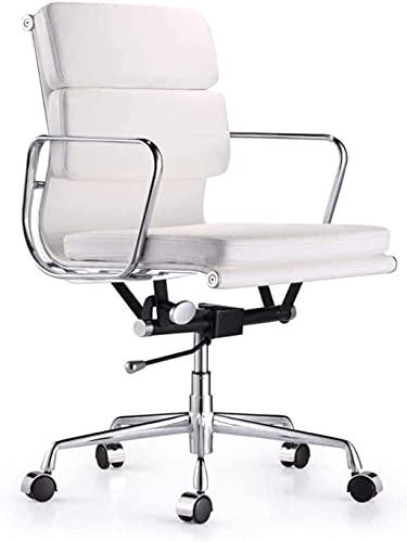Silla de oficina simple giratoria para levantamiento de cuerpo, silla reclinable, color blanco, blanco, color: blanco (color: blanco)