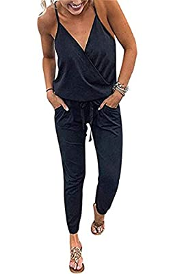 ECOWISH Women's V Neck Spaghetti Strap Drawstring Waisted Long Pants Jumpsuit Rompers Black S