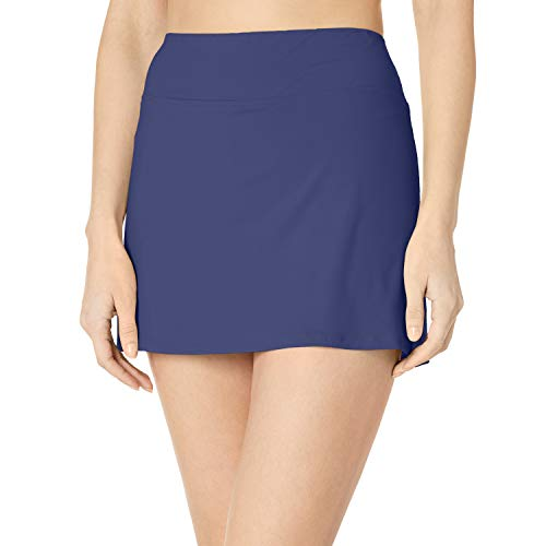 24th & Ocean Women's Plus Size Skirted Built-in Short Skort Bikini Swimsuit Bottom, Navy, 22W