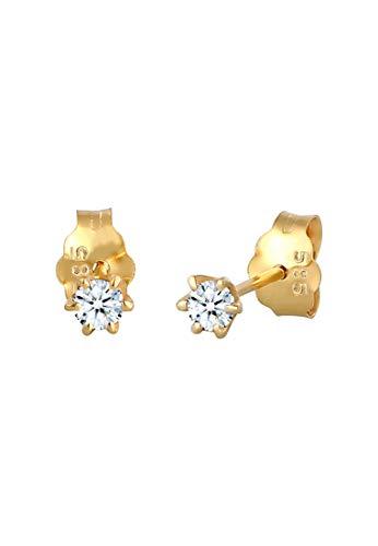 DIAMORE Ohrringe Damen Ohrstecker Klassisch Solitär mit Diamant (0.20 ct.) in 585 Gelbgold