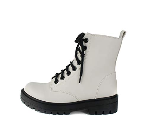 SODA FIRM - Lug Sole Combat Ankle Bootie Lace up w/Side Zipper (White, numeric_8)