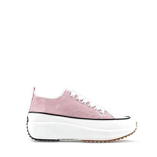 Modelisa - Zapatillas Altas Deportivas Lona con Cordón Mujer (Pink/Lona1, Numeric_39)