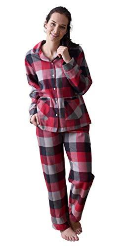 Damen Flanell Pyjama Schlafanzug in edlen Karodesign - auch in Übergrössen 201 95 321, Farbe:rot, Größe2:44/46