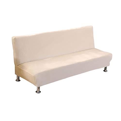 C/N Funda de sofá Cama sin Brazos Terciopelo Funda de sofá 1 2 3 Plaza sin Brazos elástica Fundas de Sofa Clic clac sin Reposabrazos Beige 🔥