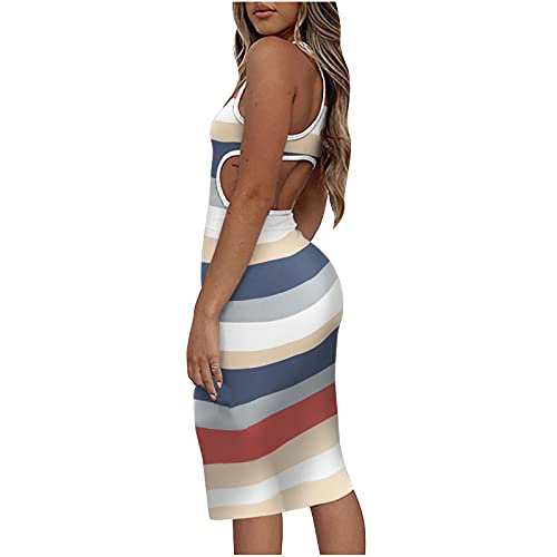 Women Sexy Stripe Ruched Sleeveless Club Bodycon Midi Dress Party Night Out Mini Dress Cut Out Backless Tank Dress