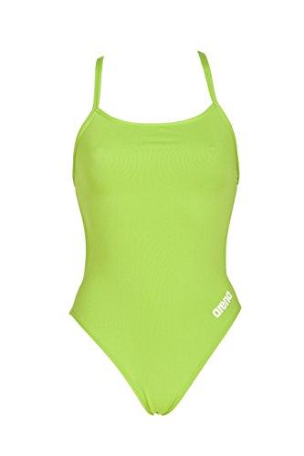 ARENA Damen Badeanzug Mast MaxLife Thin Strap Racer Rückseite offen One Piece, Damen, Leaf White, Size 30