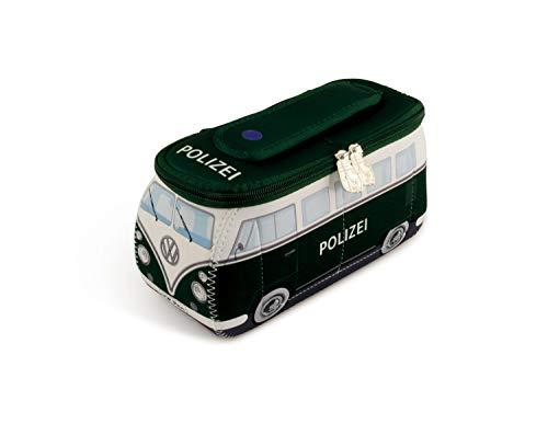 BRISA VW Collection - Volkswagen Combi Bus T1 Camper Van 3D Trousse de Maquillage en Néoprène, Sac à cosmétiques, Nécessaire de Toilette/Culture, Étui, Porte-Crayon,Pochette Universel (Police/Vert)