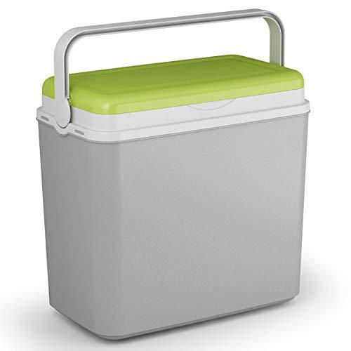 Kühlbox Kühltasche Kühlbehälter mit Deckel für Getränke Flaschen Speisen groß 24 Liter grau grün Camping Auto LKW Sport Garten Reise Strand Picknik Caravan Wandern robust passiv Kühlboxen Styropor