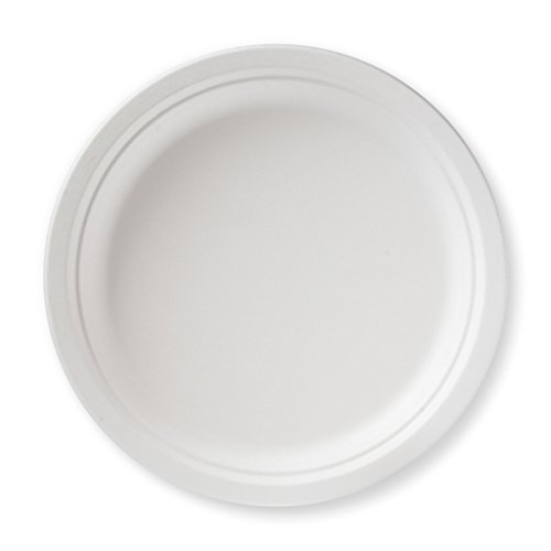 Susty Party Supplies BP-10-50CT 50 Count 100% Compostable Sugar Cane Heavy Duty Plate for Dinner, 10', White