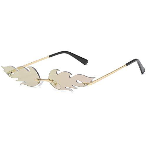 NEEDRA Occhiali da Sole Uomo e Donna in Metallo Montature per Occhiali Fiamma Personalizzate Tendenza Steampunk ITISME Occhiali Unisex Vintage Specchio Strani Retro Protezione UV400 Eyewear Bicchieri