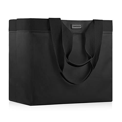 CHICECO XXL Große Shopper Einkaufstasche für Damen für die Arbeit im Fitnessstudio Wasserdichte Strandtasche aus Nylon - Schwarz