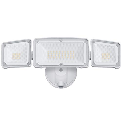 LEPOWER Dusk to Dawn LED Security Light Outdoor, 3500LM Super Bright LED Flood Light with Photocell, 35W/3000K, IP65 Waterproof, 3 Head, ETL Listed Exterior Flood Lights for House, Backyard