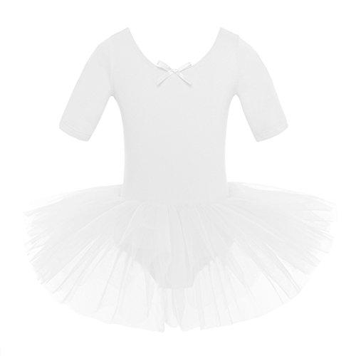 inlzdz Ballettkleid für Kinder, Mädchen, kurzärmelig, Baumwolle, Tüll, Tutu, Rock, Tanzkleidung, Outfit, Unisex Kinder, weiß, 4-5 Jahre
