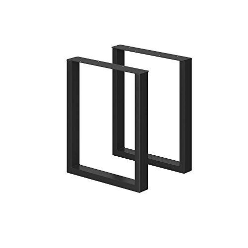VICCO LOFT Tischbeine Möbelfüße 2er Set Tischkufen Schwarz Klarlack pulverbeschichtet (72x60, schwarz pulverbeschichtet)