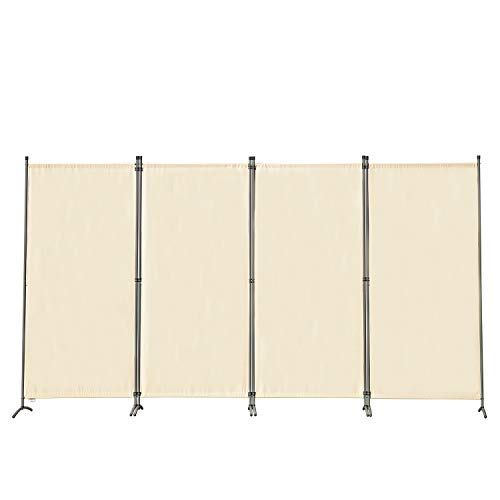 Angel Living Biombo Grande de 4 Paneles, Decoración Elegante, Separador de Ambientes Plegable, Divisor de Habitaciones, 333X170 cm (Beige)