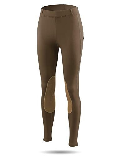 BALEAF Women's Horse Riding Pants Equestrian Breeches Tights Belt Loops Pockets Knee-Patch Active Legging UPF50+ Brown S
