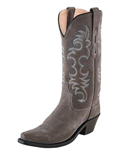 Old West Light Grey Womens Leather 12in Cowboy Boots 8.5B