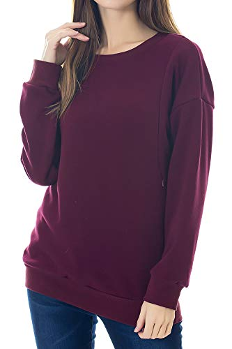 Smallshow Women's Fleece Maternity Nursing Sweatshirt Breastfeeding Tops Medium Burgundy
