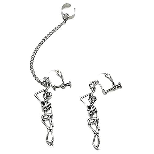 Pendientes colgantes de esqueleto de calavera punk vintage, 2 pares de pendientes colgantes de huesos de esqueleto humano hueco de plata gótica, regalos de oreja de asimetría (Clip de oreja)