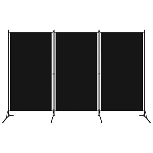 vidaXL Raumteiler Klappbar Freistehend Trennwand Paravent Umkleide Sichtschutz Spanische Wand Raumtrenner 3-TLG. Schwarz 260x180cm Eisen Stoff