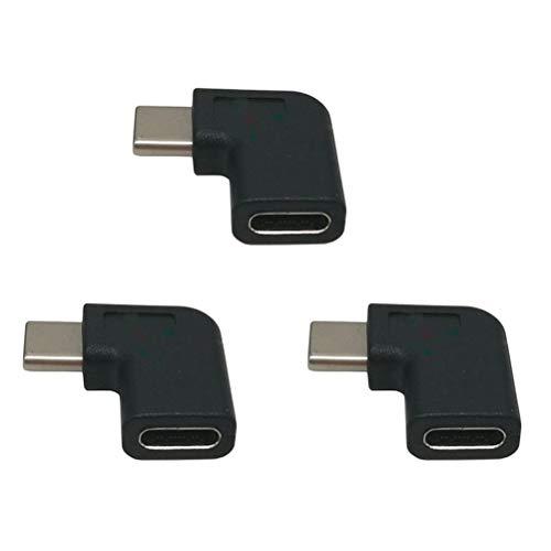 TEHAUX Adaptador Tipo C de 3 Piezas USB 3. 1 USB C Convertidor de ángulo de 90 Grados Macho a Hembra para computadora portátil, Tableta, teléfono móvil
