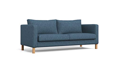 MastersofCovers Polyester Karlstad 3 Seat Sofa Cover for The IKEA Karlstad 3 Seater Sofa Slipcover Replacement-Navy Blue