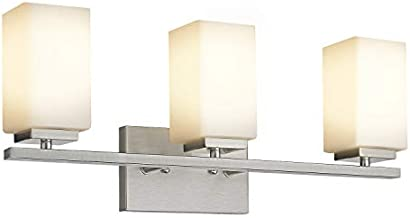 Zeyu Vanity Light 3-Light, 22 Inch Bathroom Vanity Light Fixture Over Mirror, Brushed Nickel Finish with Frosted Glass Shade, 6106-3 BN