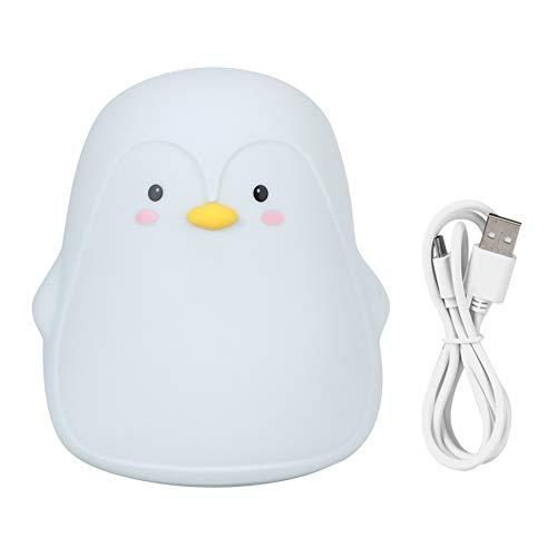 JIUA Lámpara De Luz De Noche LED De Carga USB De Pingüino Lindo Colorido De Silicona para Dormitorio, Mesita De Noche, Gris