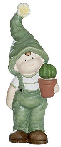 dekojohnson Deko-Figur-Kind Junge mit Zipfelmütze und Kaktus stehend Gartenzwerg Wichtel Gartendeko Gartenfigur Frühjahrsdeko Sommerkind 11x24cm