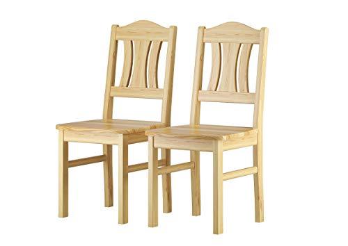 Erst-Holz® Küchenstuhl robust Massivholzstuhl Kiefer Esszimmerstuhl Doppelpack oder Einzelstuhl V-90.71-26, Menge:Doppelpack