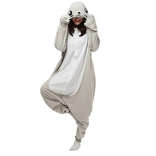 LPATTERN Erwachsene Damen/Herren Cartoon Kostüm- Jumpsuit Overall Schlafanzug Pyjamas Einteiler, Grau Seehund, XL für Körpergröße 178-188CM