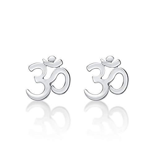 Diamond Treats Silver OM Earrings in Polished 925 Sterling Silver. OM is a Spiritual Icon and the most Sacred Sounds. These Spiritual Sterling Silver Earrings are a Lovely Gift for Women.