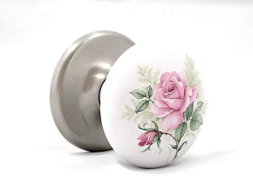 The Rose Porcelain Ceramic Passage Door Knob Set Brushed Nickel Hardware - No exposed Screws. Wonderful Premium Passage Knob Set, Engineered to fit all Modern pre-drilled Doors right out of the box