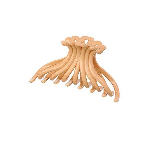 Clip de griffe simple, 7 pièces grand coloré forme de chrysanthème cheveux en résine femmes cheveux en plastique, accessoires clips queue de cheval, fermoir poignées style de bain-Jaune