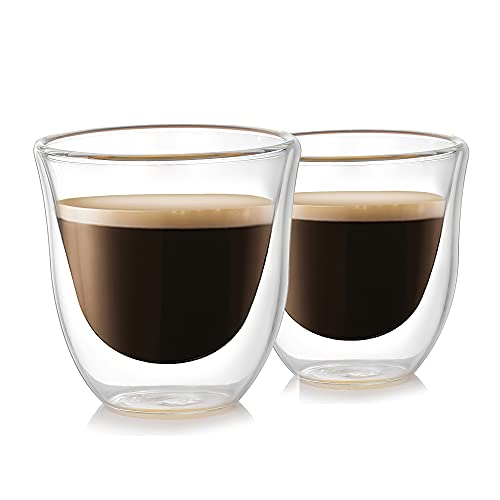 MOLADRI Glass Espresso Cups, Double Walled Shot Glasses, 2oz/60ml Clear Coffee Cup Set of 2, Thicker Thermo Insulated Borosilicate Mug for Latte Tea Desserts Cappuccino Cocktails