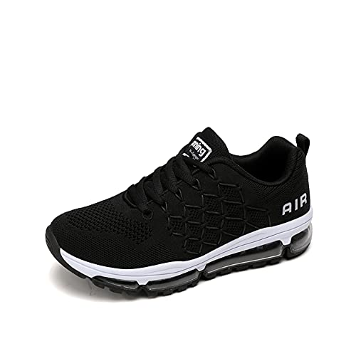 Zapatillas Running Hombre Mujer Deportivas Air Zapatos Deportivos Transpirables Sneakers Calzado Deporte Correr Gimnasio Aire Libre Tenis Asfalto Negro Blanco 877Negro 39