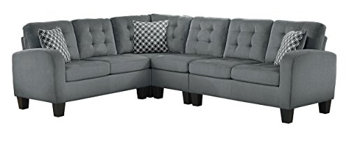 Homelegance Sinclair 84' x 107' Fabric Sectional Sofa, Gray