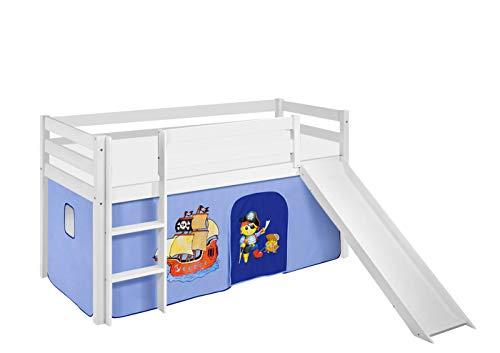 Lilokids Spielbett JELLE Pirat Blau - Hochbett weiß - mit Rutsche und Vorhang