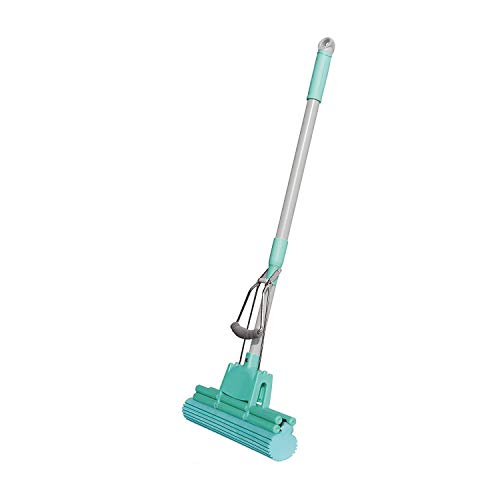 VALAP Floor Cleaning Squeeze Mop with Adjustable Telescopic Handle Squeegee Absorber Sponge Cleaner Pocha for Home Kitchen Bathroom, Stainless Steel Handel (Multicolor)